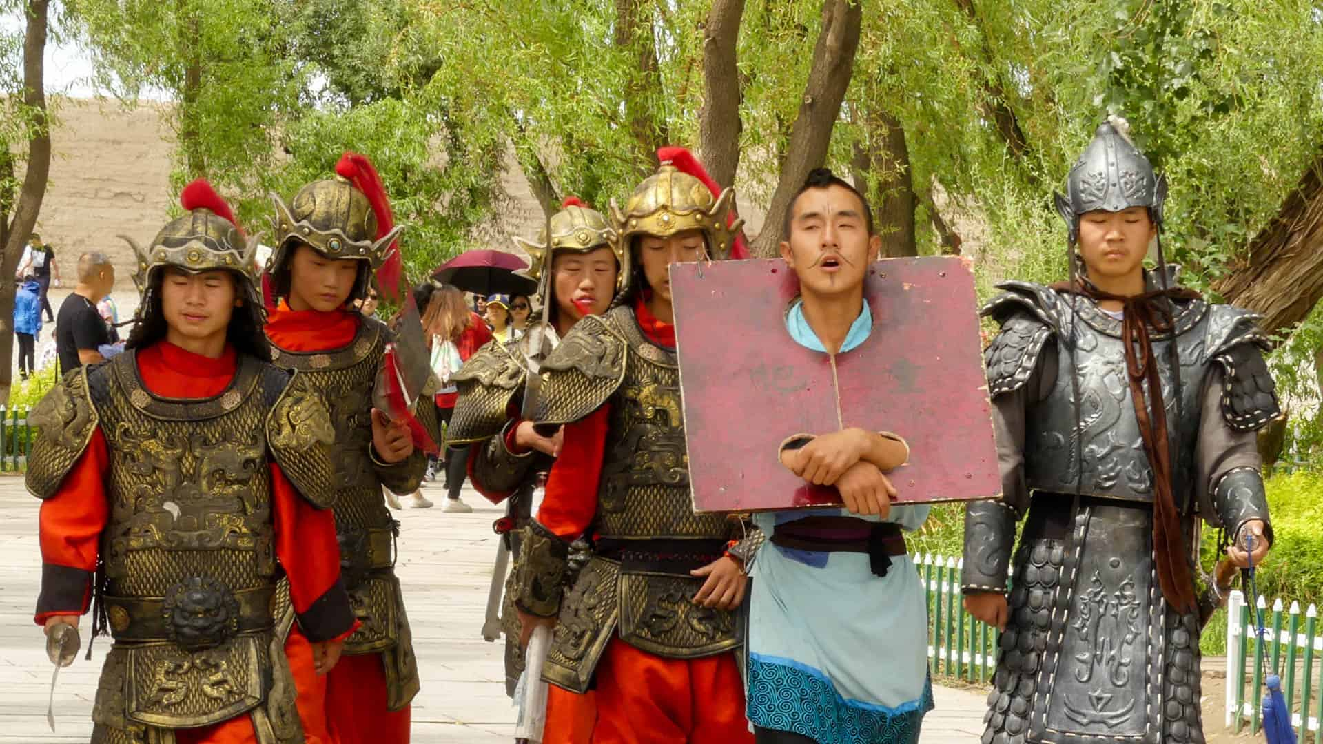 Actors as soldiers and a captive in Jiayuguan Fort