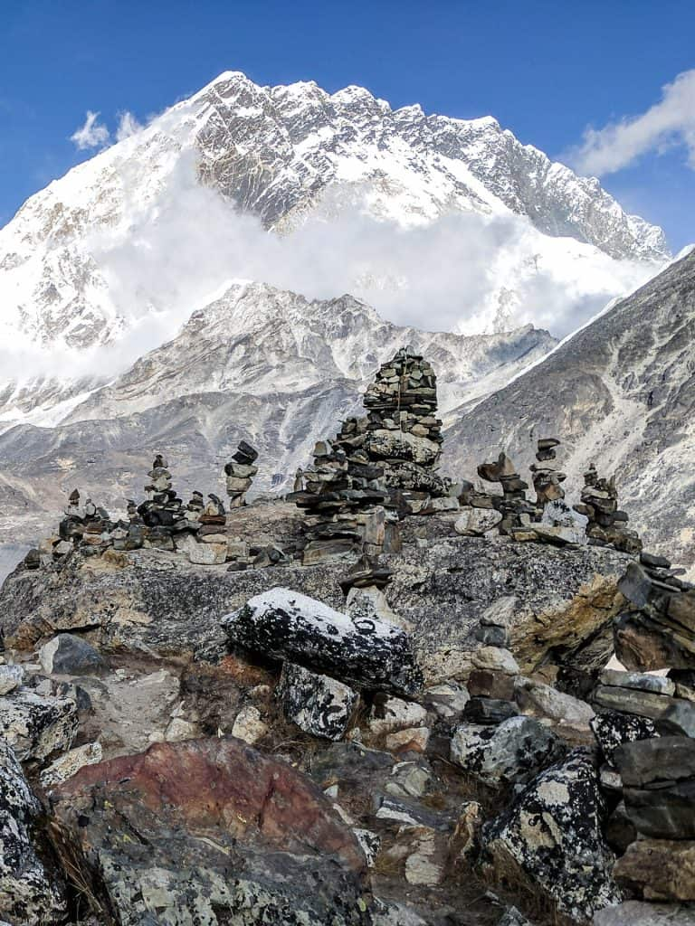 Piled rocks near Lobuche