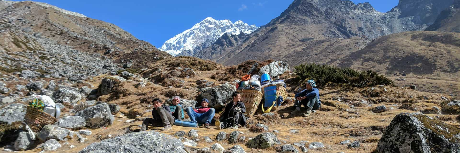 Sherpas resting in the Everest trek