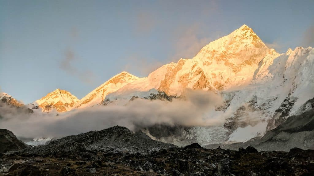 The mountains near Everest at sunset