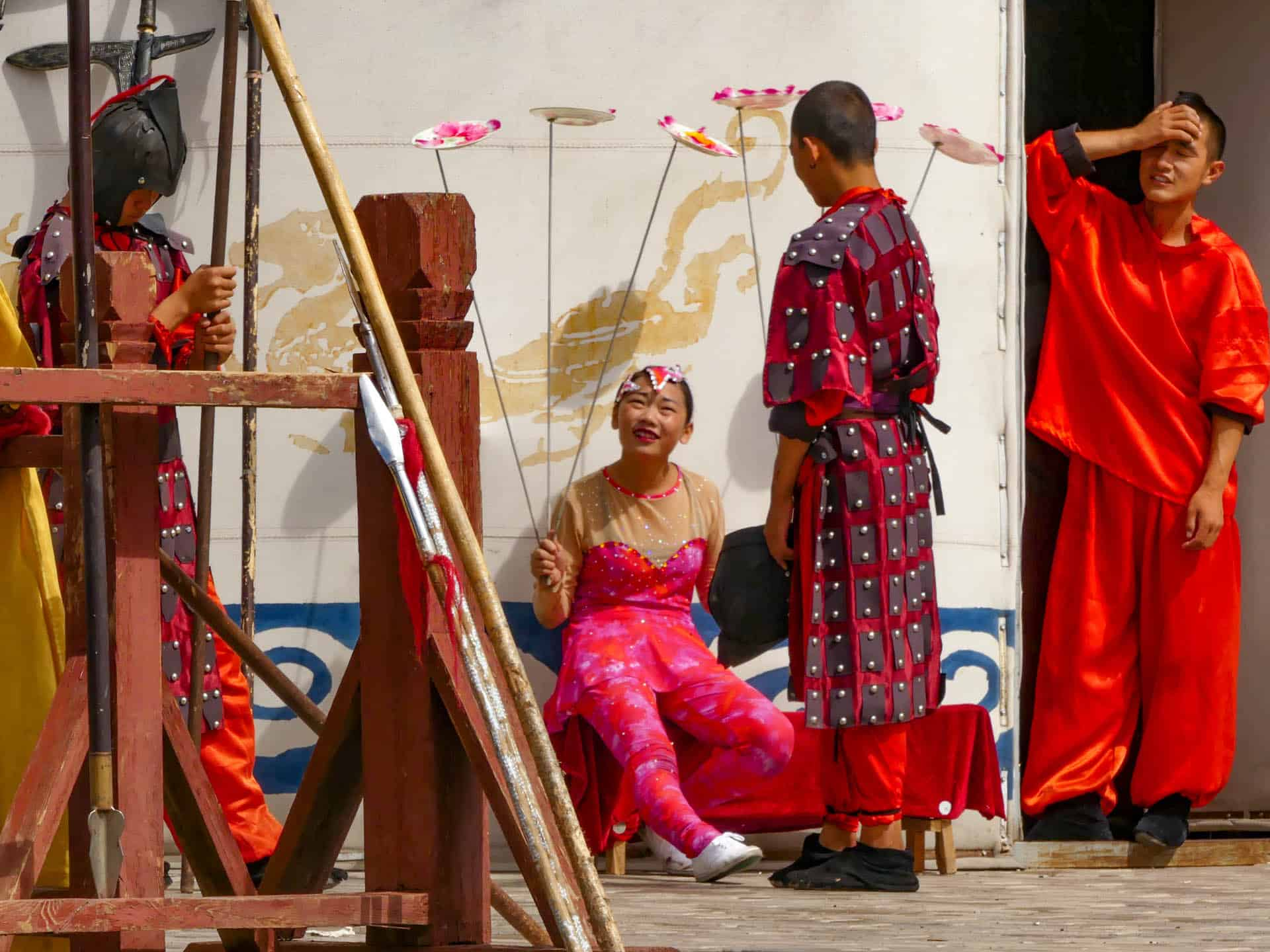 Actors and martial artists resting after the show in Jiayuguan Fort