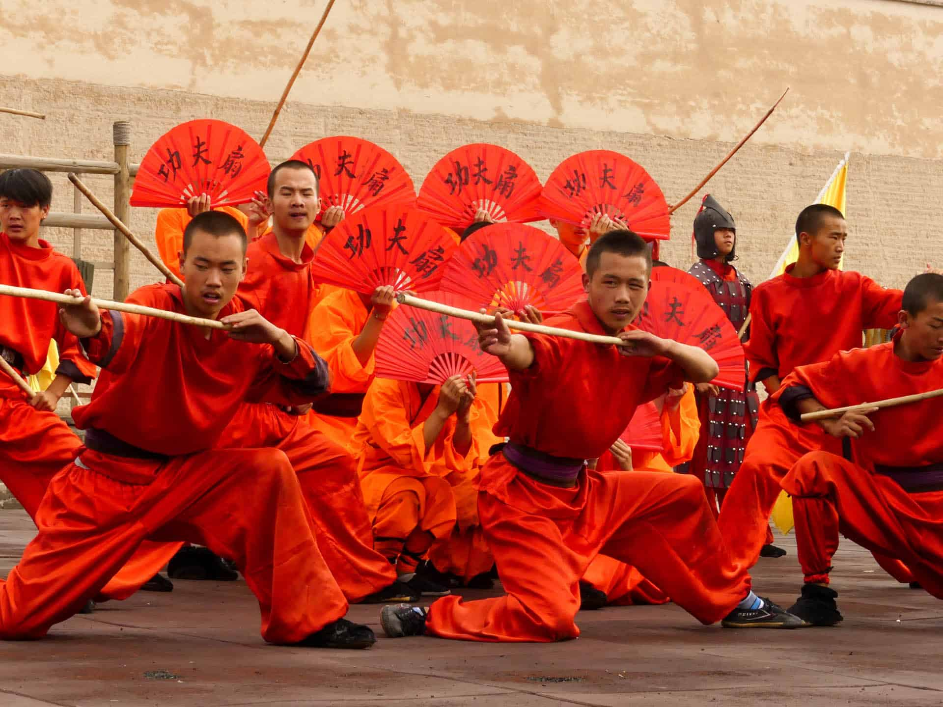 Shaolin Monks doing a Martial Arts Show in Jiayuguan Fort