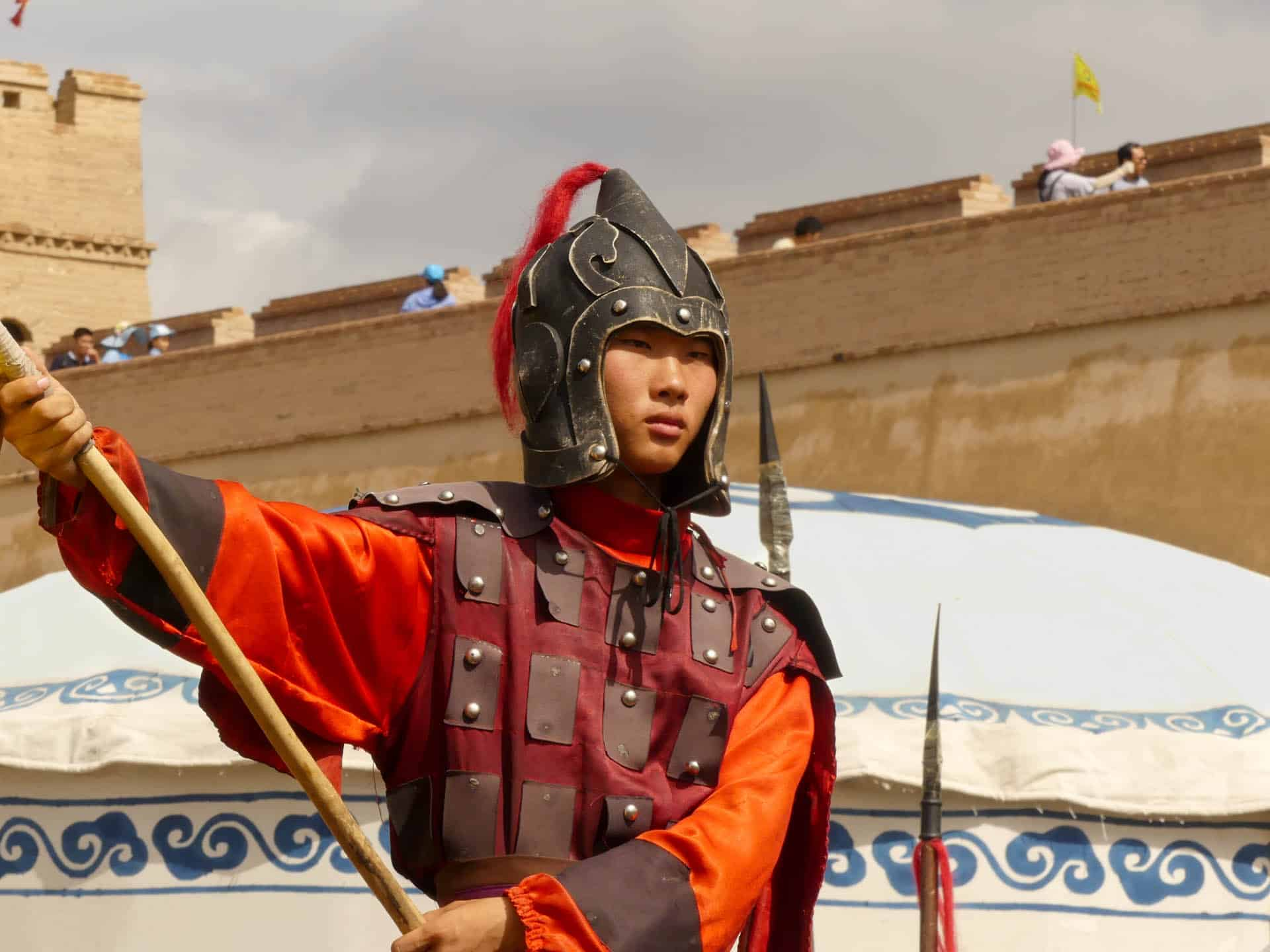 Actor as a soldier in Jiayuguan Fort