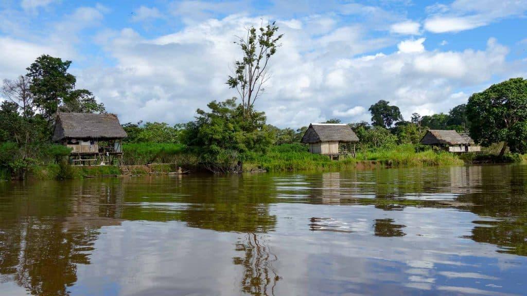 Village in the Amazon in Peru