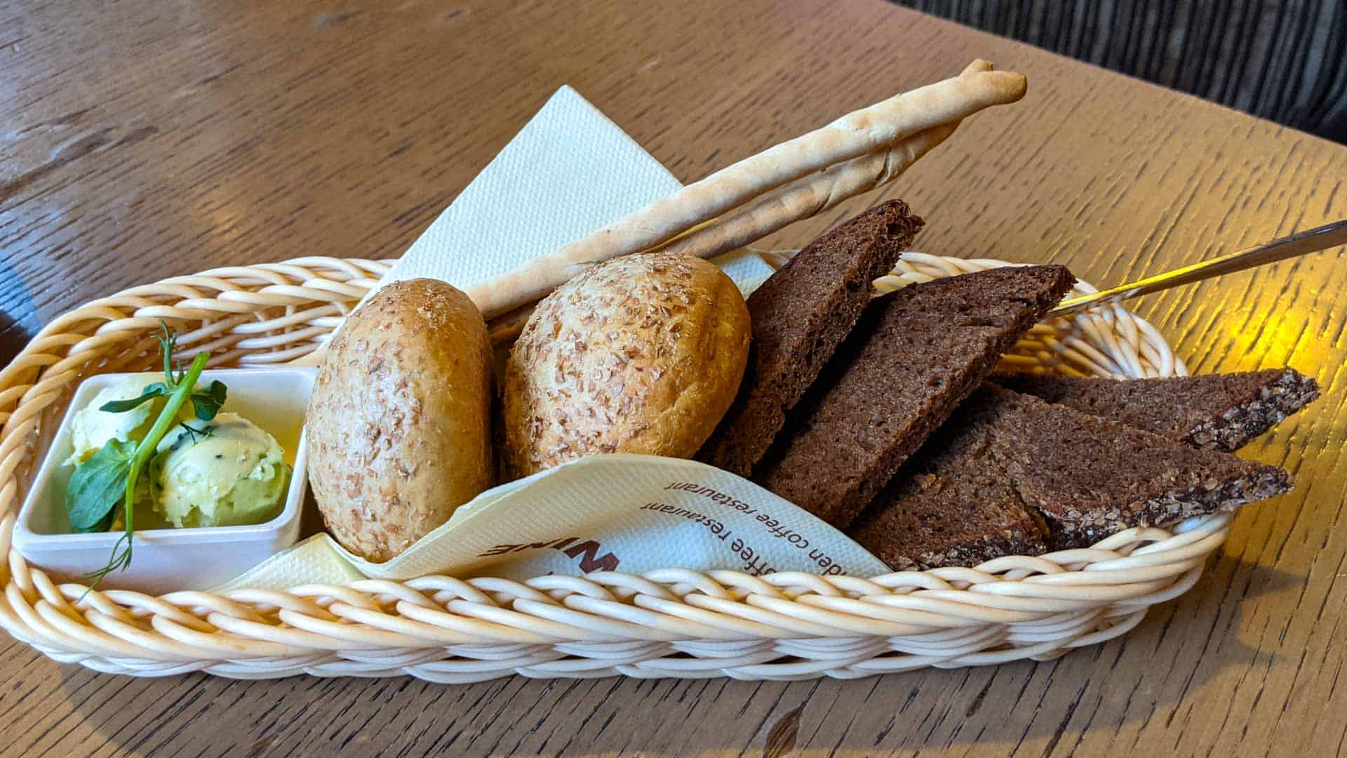 A selection of bread, including Latvian Rye Bread