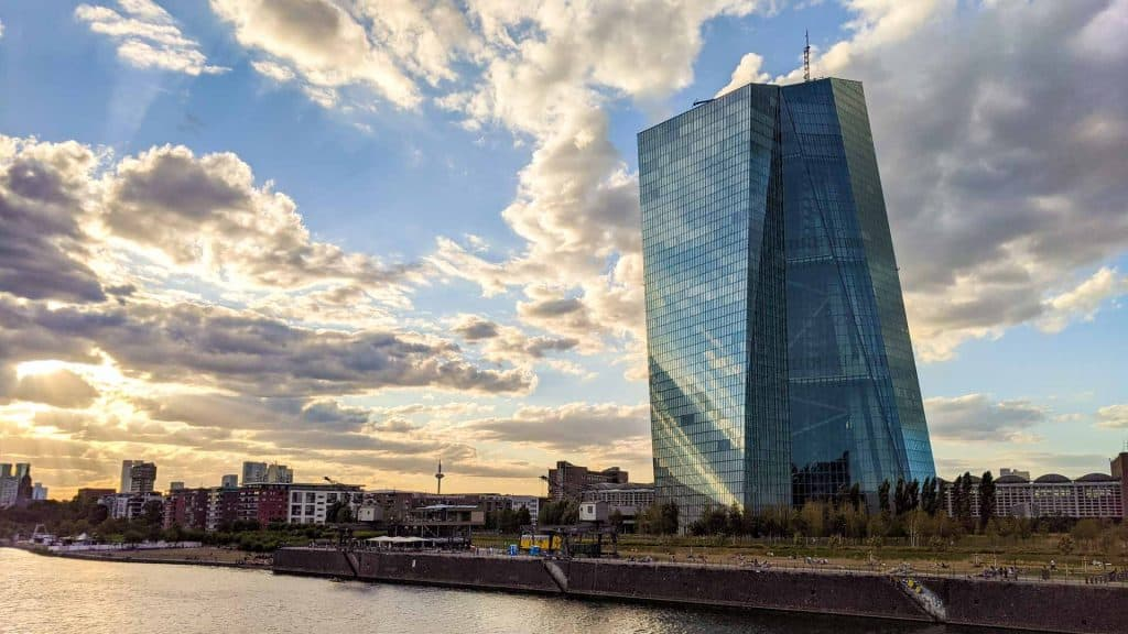 View of the European Central Bank in Ostend in Frankfurt