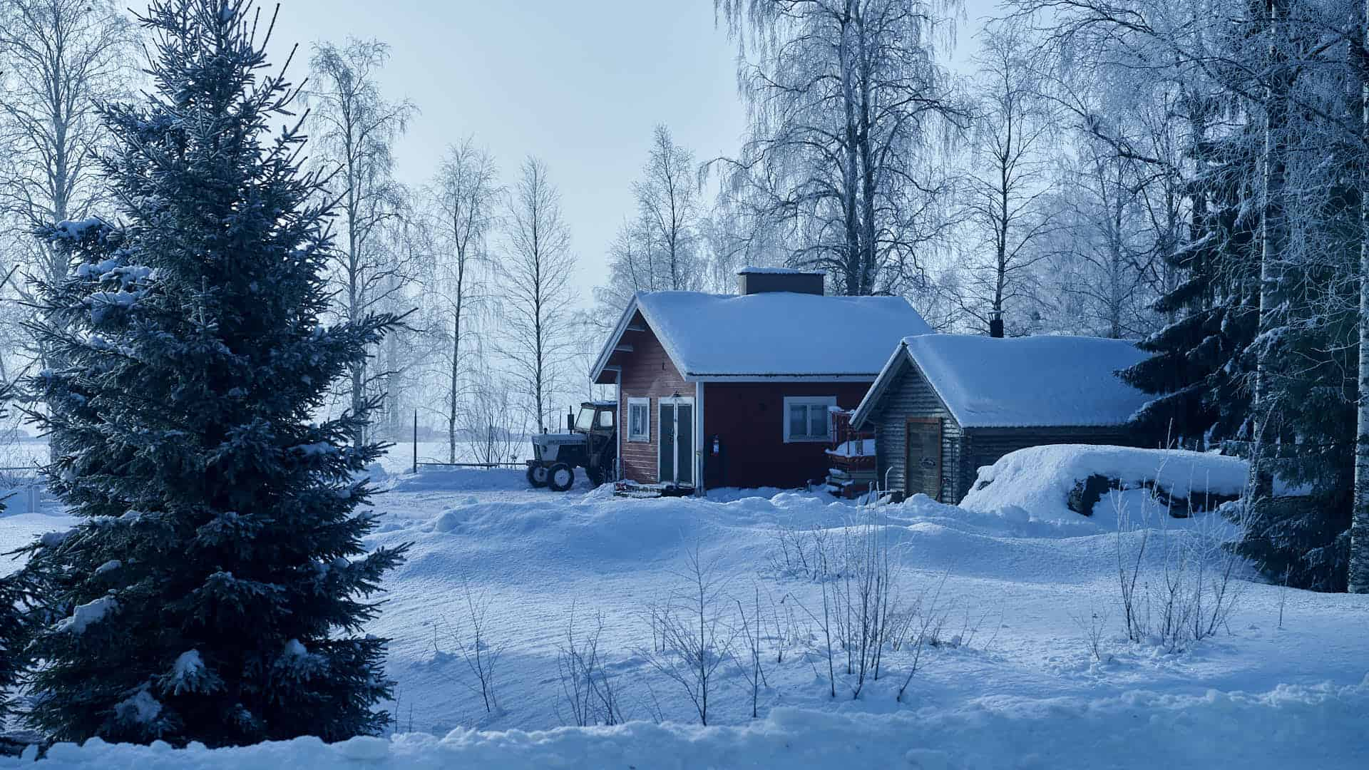 A small house in Lapland, northern Finland