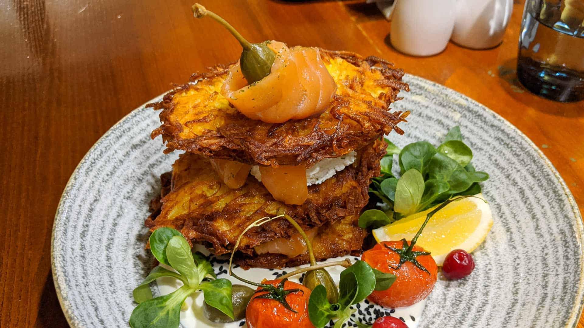 Potato pancakes with smoked salmon