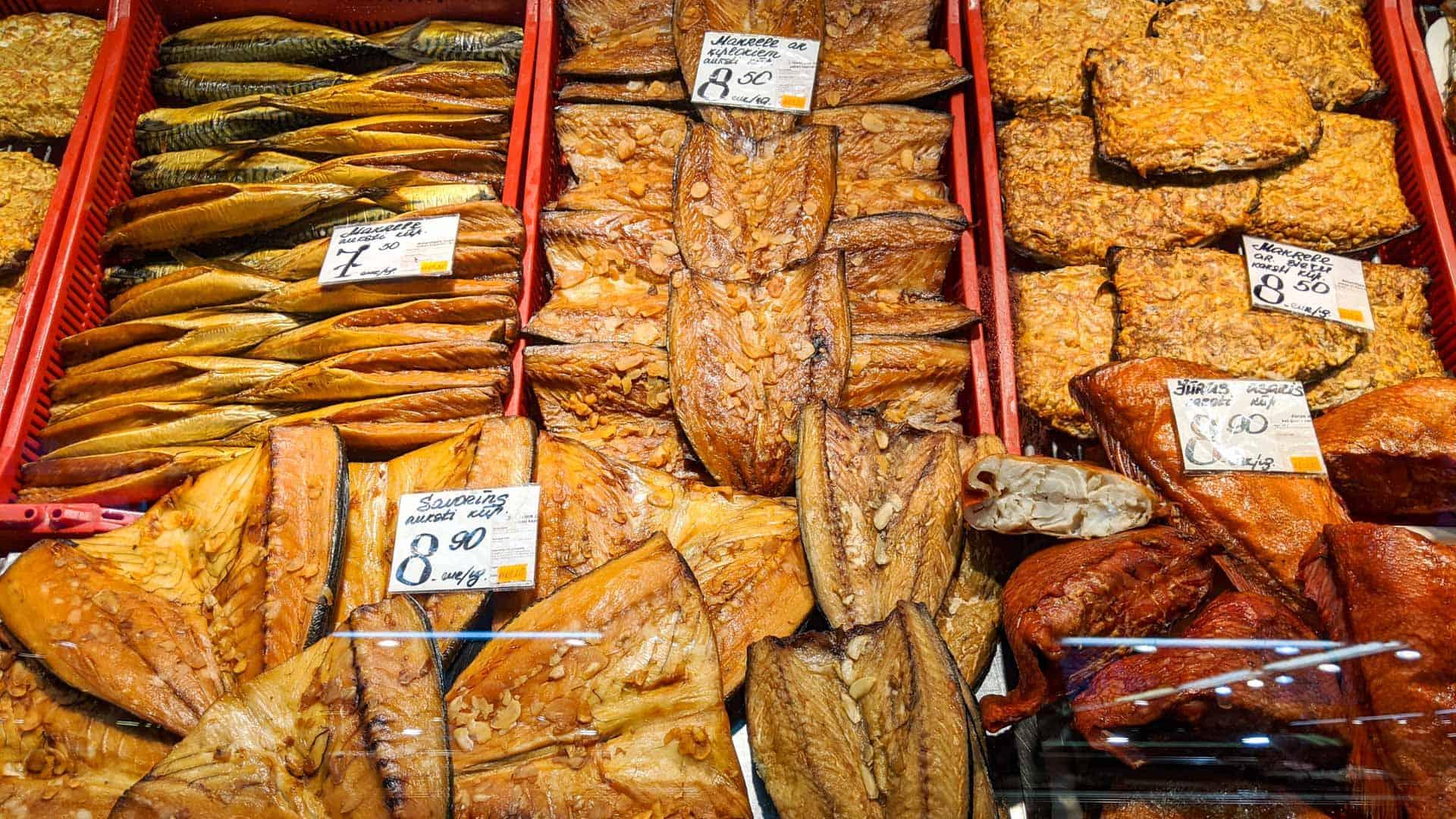 Smoked fish at the Riga Central Market