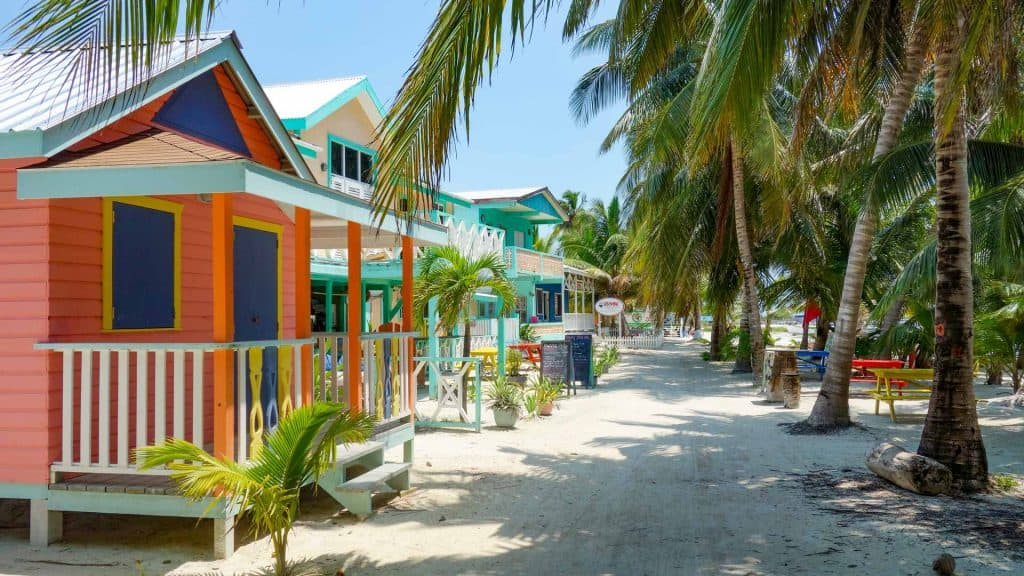 Street with colourful houses on Caye Caulker