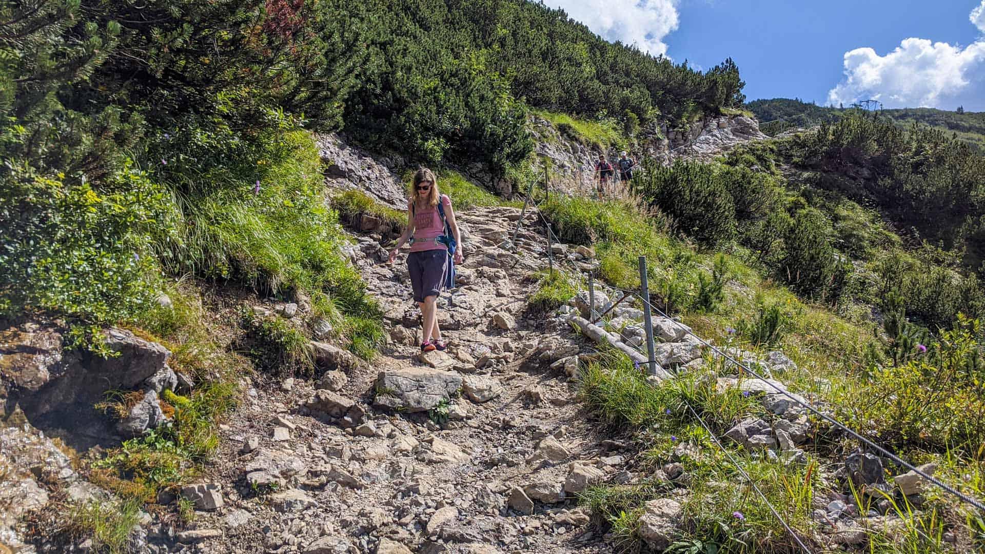 Ilona going down lake Schrecksee