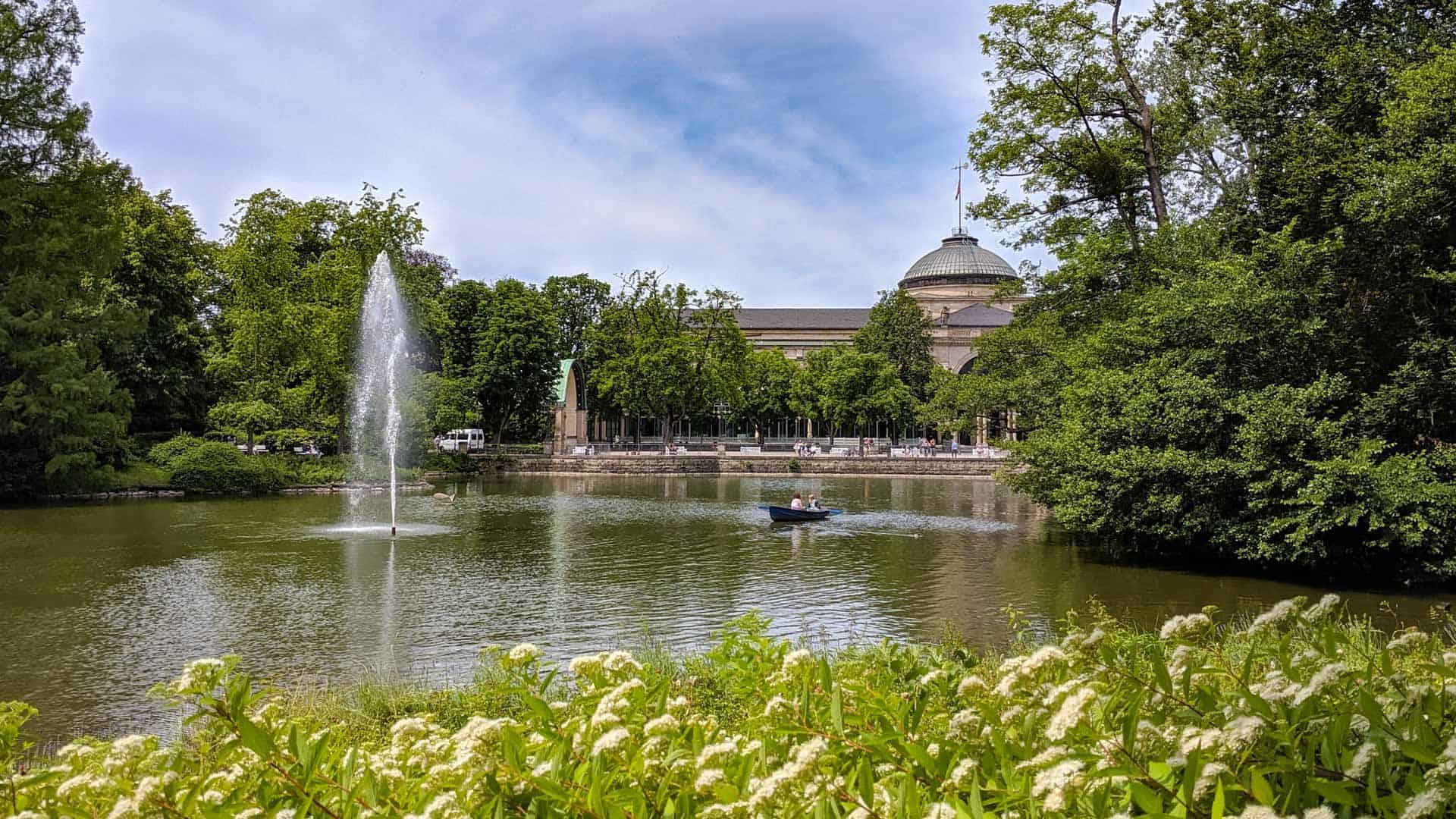 View of the lake in the Kurpark in Wiesbaden