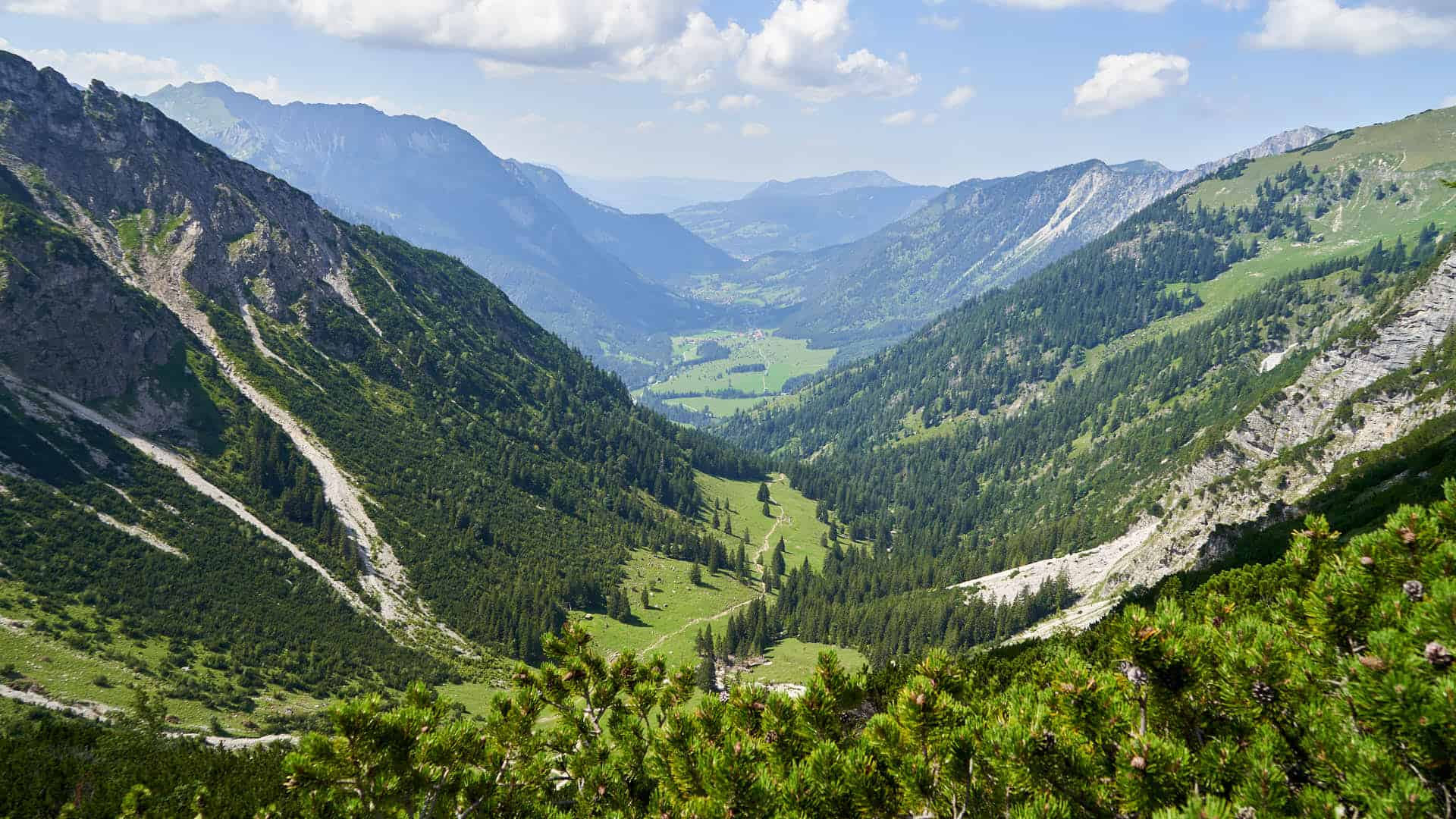 View of the valley near lake Schrecksee