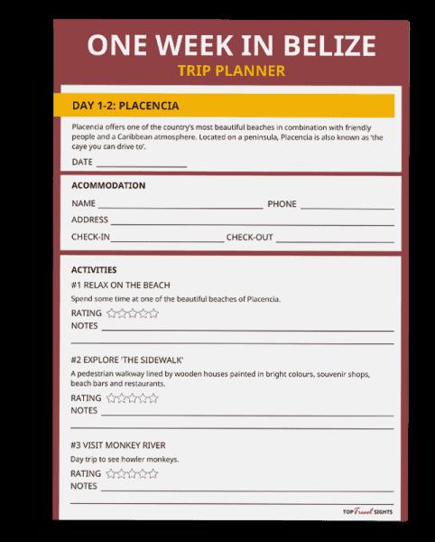 Mockup of the One Week in Belize Trip Planner printable