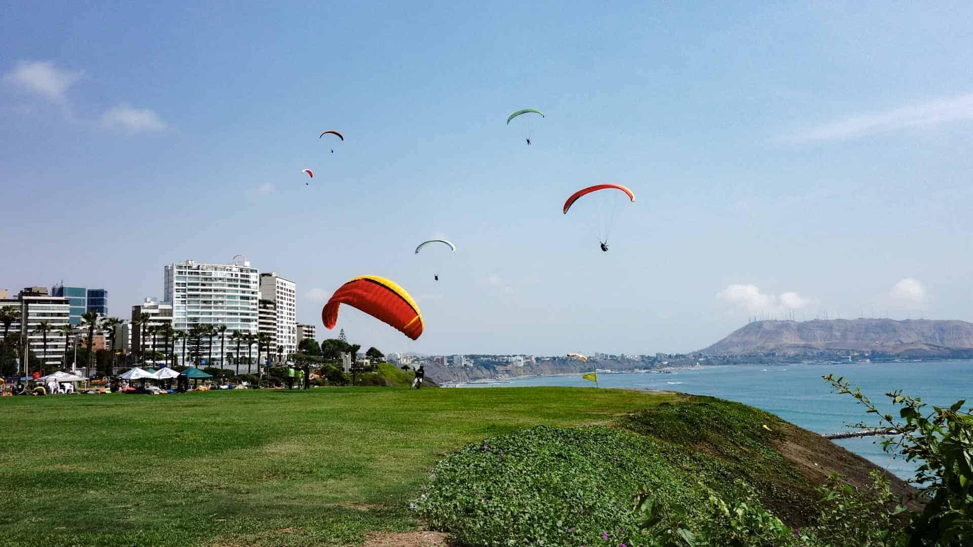 Paragliders in Miraflores, Lima, Peru