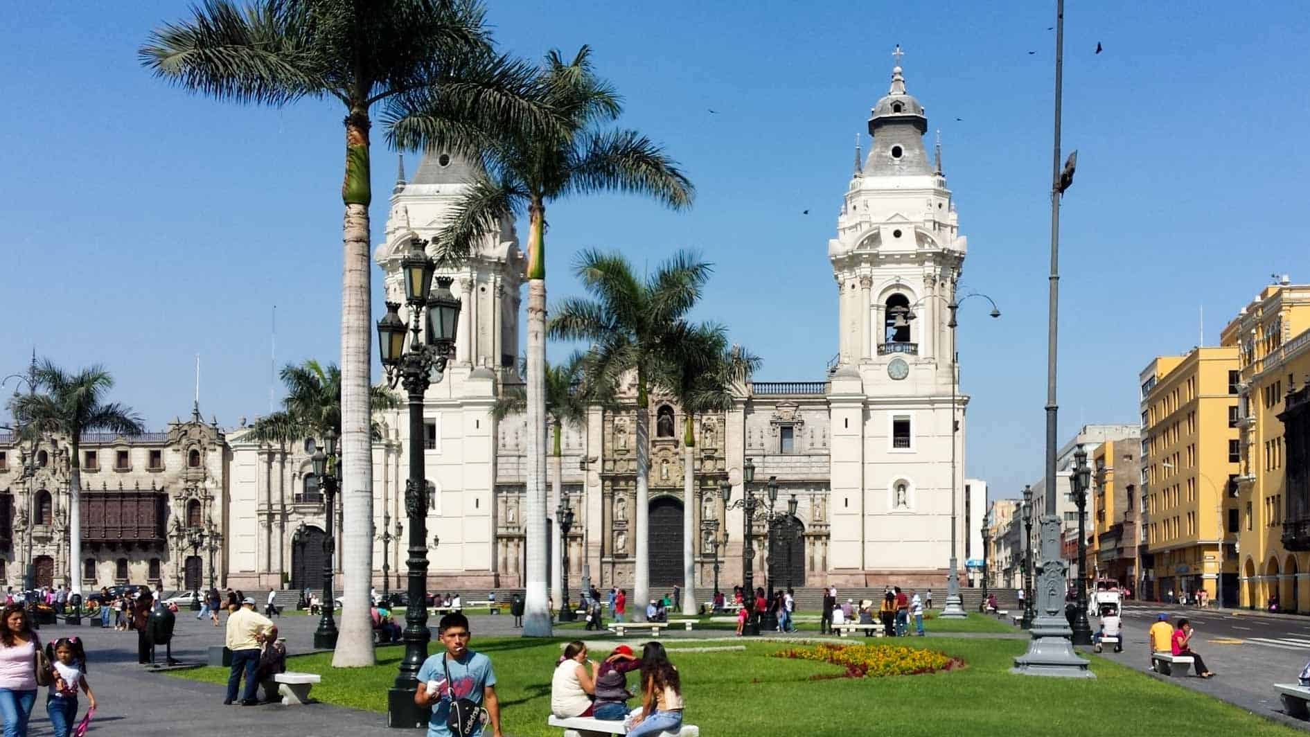 Plaza de Armas or Plza Mayor in Lima, Peru