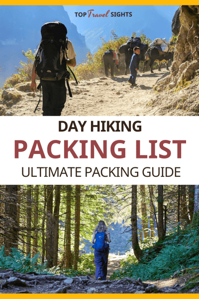 Pinterest graphic for Day Hiking Packing List