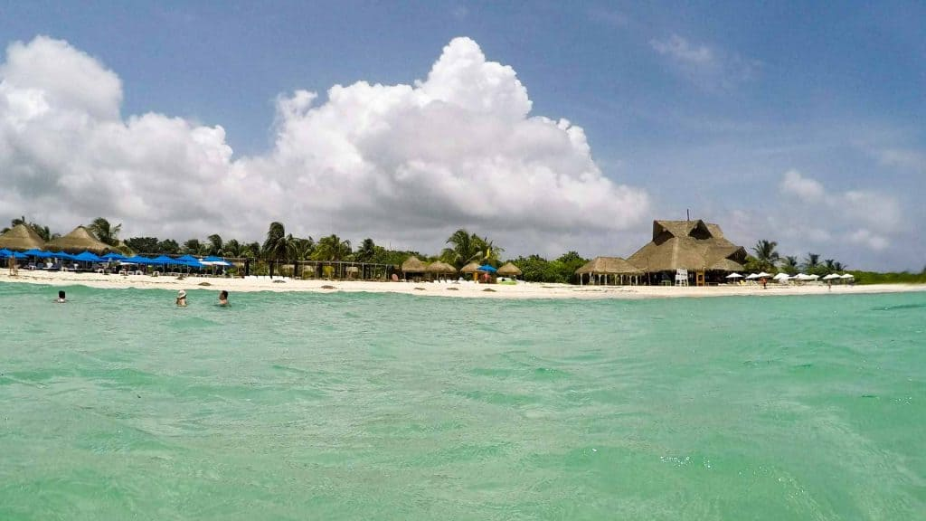 Beach on Cozumel Island, Mexico, seen from the water