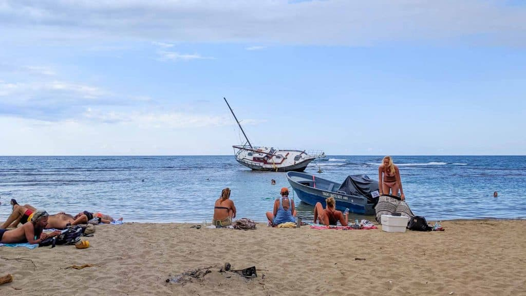Beach with shipwreck in Puerto Viejo Costa Rica