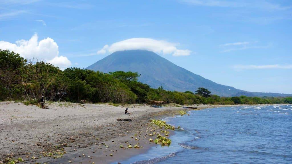 Black beach on Isla Ometepe Nicaragua