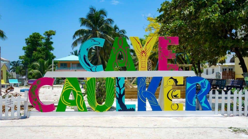 Colourful Caye Caulker sign on the island of Caye Caulker, Belize