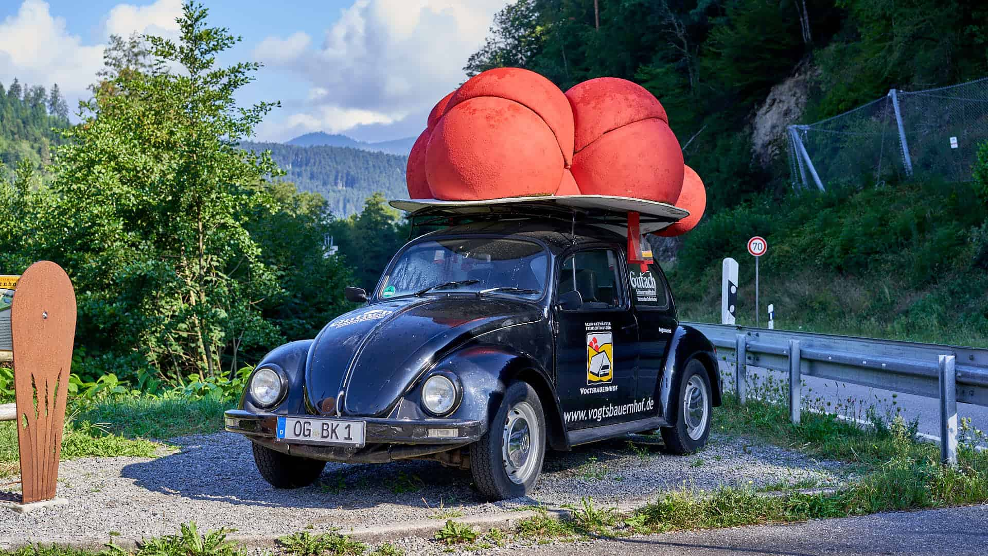 Car advertising the Open Air Museum in the Black Forest