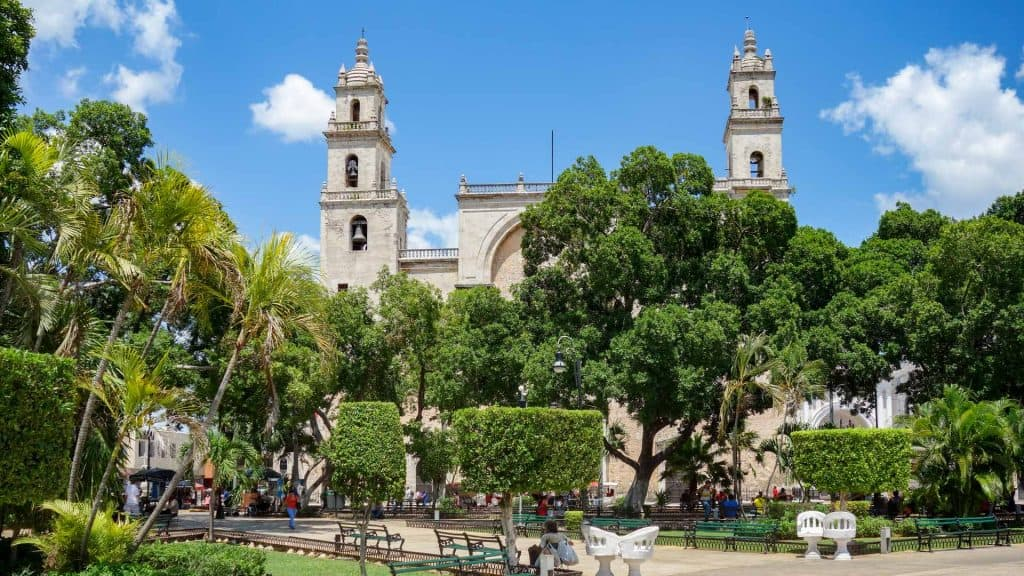 View of the Central Square and Cathedral in Merida