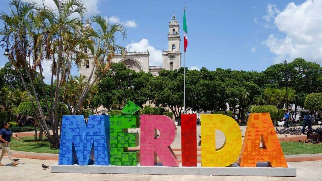 colourful Merida sign