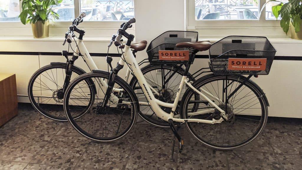 Bikes for rent in the Sorell Hotel Merian Basel